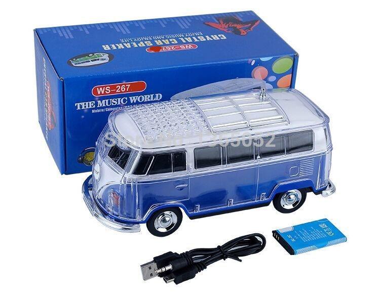 50Pcs WS-267BT Colorful Mini Speaker Car Shape Mini Bus Bluetooth Speaker Sound Box MP3+U Disk+TF+FM+LED+ 7Color Function