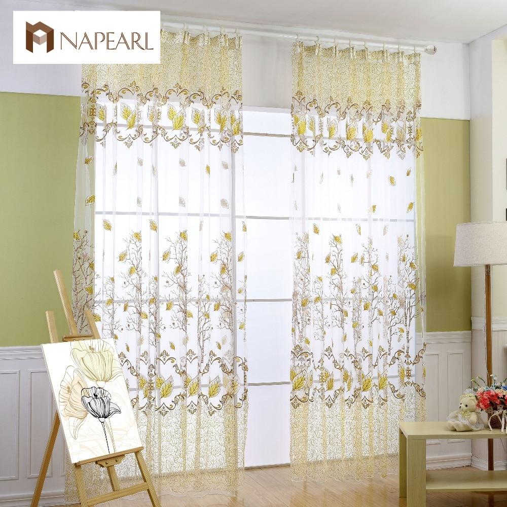 Rústico pastoral diseño transparente tulle cortinas ventana ...