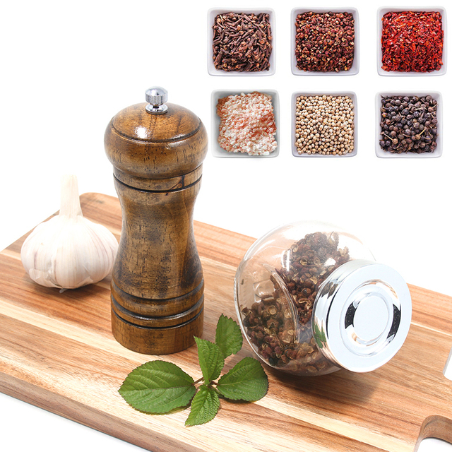 Wood salt and pepper grinder set with mill tray 5,8,10 inch