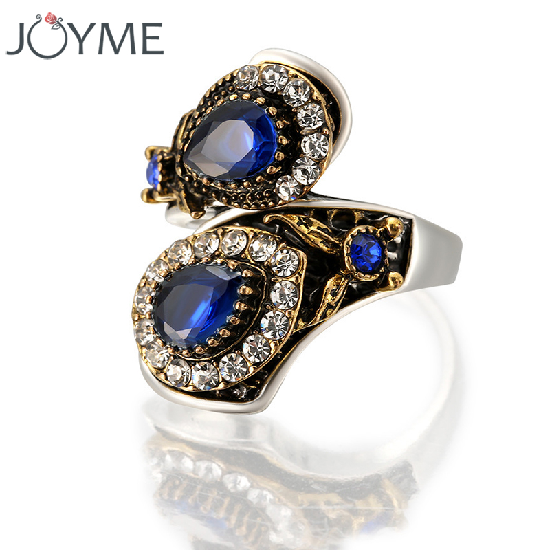 Antique Bohemian Blue Crystal Color Silver Ring Women