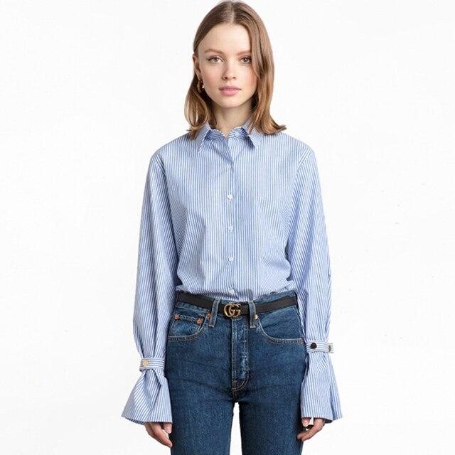 a578d64120 Amarrado azul listrada branca de manga camisas para mulheres botão manga  longa para baixo o trabalho