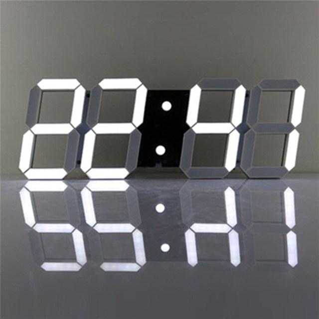 Charminer White Large 3D Acrylic Digital LED Skeleton Wall Clock