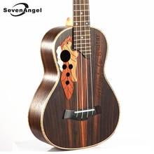 SevenAngel Brand 23 Inch Hawaiian Mini Guitar 4 Strings Ukelele Rosewood Body Grape Sound Hole Electric Ukulele with Pickup EQ