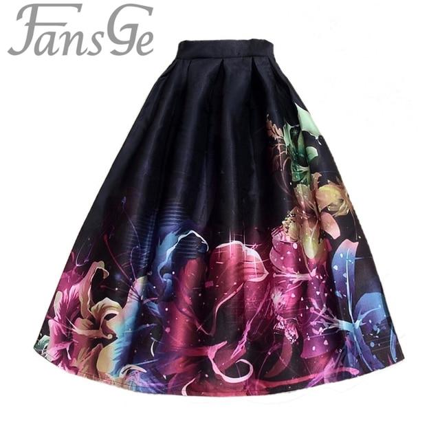 Spring Autumn Vintage Fancy Flower Printed Ball Gown Pleated Skirts Womens Midi Skirt High Waist Women's Tutu Skater Skirt saia