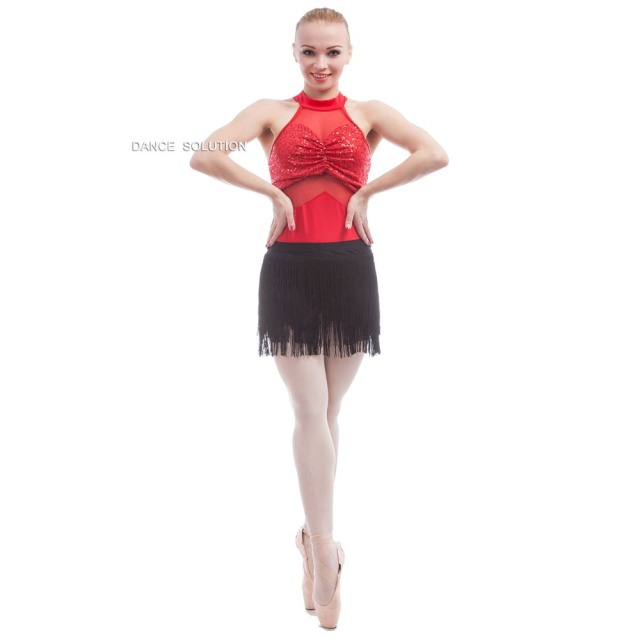 642551d58f Free Shipping Adult Girls Halter Neck Red Sequin and Mesh Leotard ...