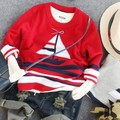 2-8Y new 2015 boys cartoon sailing boat knitting sweater kids autumn winter jersey boys garment children handsome costume