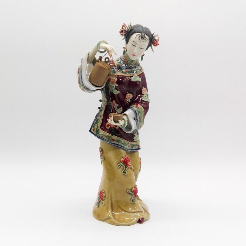 Figurine Cinese Character Statue Ceramic Ornaments Female Sculpture Handicraft Ancient Herbal Tea