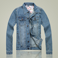 2015 autumn and winter mens designer clothes new large size casual denim jacket men windproof jeans jacket men