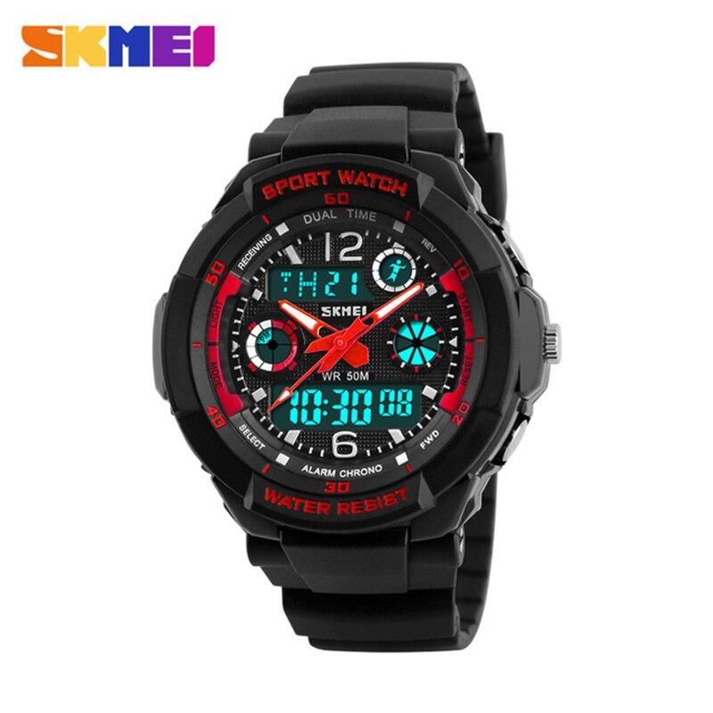 SKMEI бренд дети спортивные часы 50 м Водонепроницаемый моды случайные кварцевые цифровые часы для мальчиков и девочек Многофункциональный св…