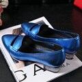 2016 Meninas novas do Verão apontou grosso chunky sapatos de salto alto fechado do dedo do pé boca rasa sapatos de couro PU mulheres sexy bule vermelho sapatos de prata
