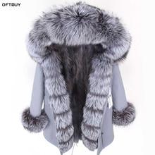 OFTBUY 2020 Winter Jacket Women Real Fur Coat Parka Real fox collar fox fur liner black striped long coat Streetwear new fashion