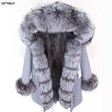 Oftbuy 2020 冬のジャケットの女性本物の毛皮のコートパーカー本物のキツネの襟キツネの毛皮のライナー黒コートストリート新ファッション