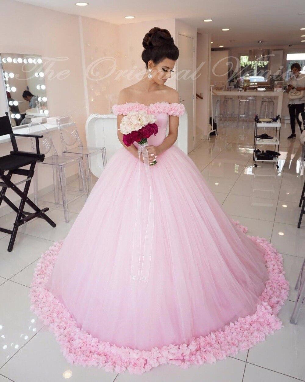 2017 Rose Tulle robe de Bal Princesse Robe Hors de L\u0027épaule De Mariage De  Style 3D Fleur Flore Robes De Mariée Robes De Mariage De Cendrillon de la  boutique