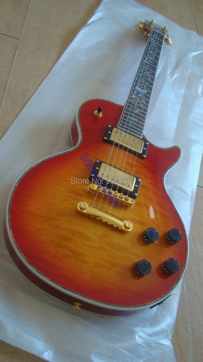 brand new cherry sunburst qulited top shop flower inlay colorful binding electric guitar free shipping