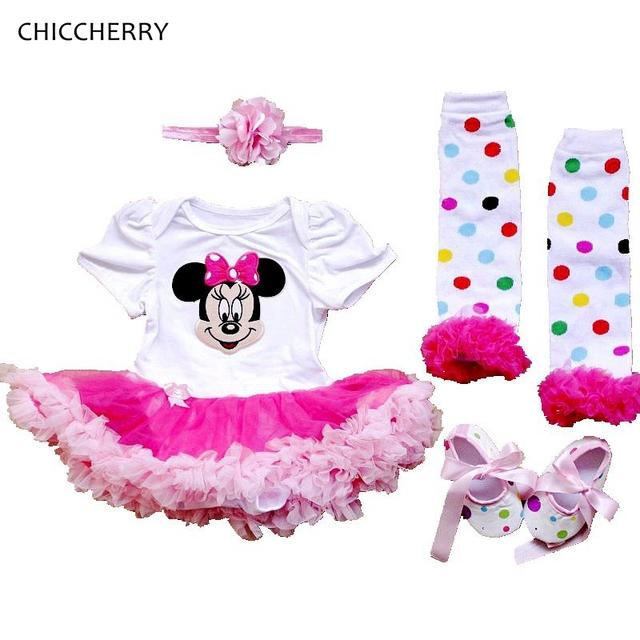 Lindo minnie baby girl ropa infantil clásico cordón dress + venda + calcetines de los bebés conjuntos vestidos del tutú del cumpleaños del niño trajes