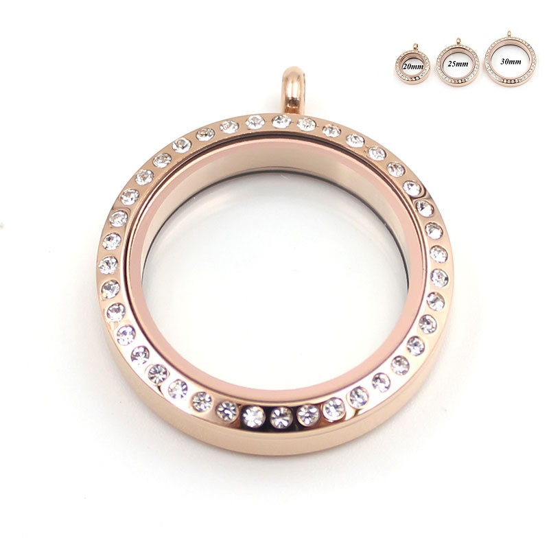 Round Water Proof Floating Locket Rose Gold Stainless Steel Twist Screw living memory Locket For DIY Jewelry