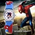 Venta caliente de la manera del hombre araña de dibujos animados reloj de los niños relojes reloj de los niños del muchacho fresco 3d de goma correa de reloj de cuarzo reloj de regalo horas