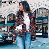 BerryGo Plaid tweed wool blazer women Turndown collar tassel casual autumn blazer mujer Fashion christmas female blazer coat