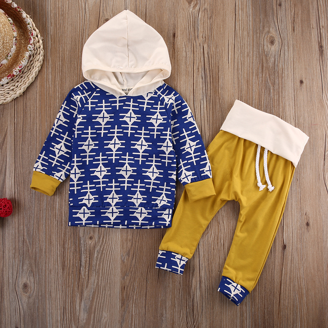 Baby Boy Girl Clothes Hooded Tops+Pants Outfits Set