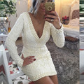 Dressgirl Ivory Cocktail Dresses 2017 Sheath Deep V-neck Long Sleeves Lace Pearls Sexy Short Mini Homecoming Dresses