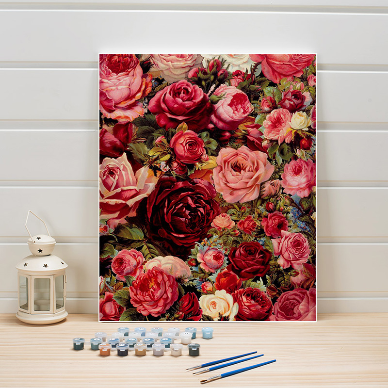 DIY Paint Painting By Numbers Flowers Rose On Canvas Acrylic Coloring Art Pictures For Living Room Wall Adults Drawing One Piece