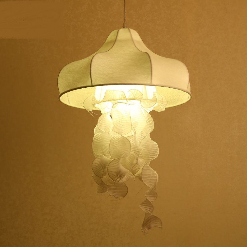 Silk fabric Jellyfish pendant lights decorative corridor restaurant clothing store white ...