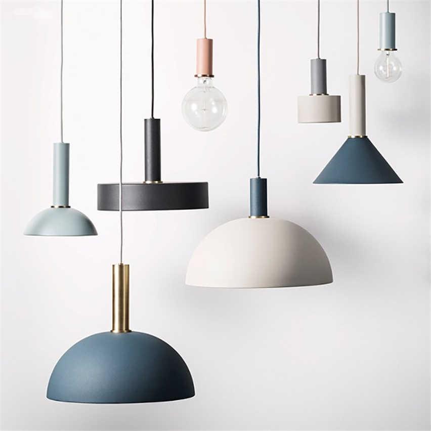 Macarons nórdico restaurante luces colgantes comedor Post-moderno Bar  lámparas danesas de estilo Industrial lámparas LED accesorio de decoración