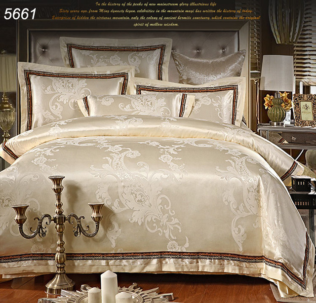 Milk White Beige Jacquard Silk Bedding Sets Queen Size Bed Covers Luxury King Tencel Duvet Cover
