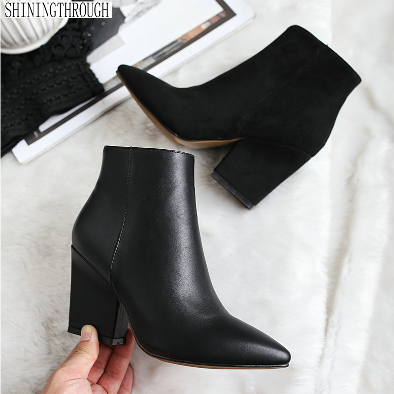 New Women's Boots Pointed Toe Ankle Boots Thick Heel High Heels Shoes Woman Female Boots 2018 Winter