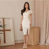 Summer new han edition cultivate one's morality show thin v neck sexy fashion aristocratic temperament render dress