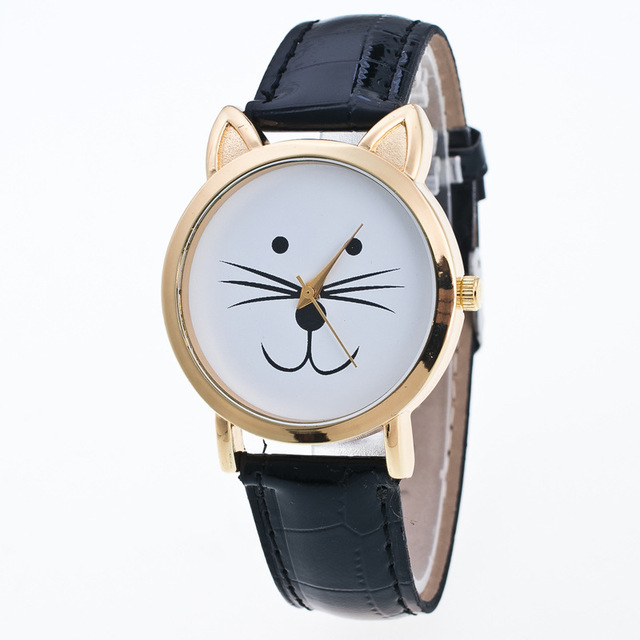 Lovely Cat Face Geneva Watches Women Leather Strap Analog Children Kids Clock La