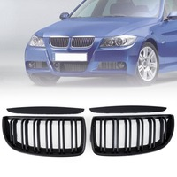 1 Pair Left Right Front Kidney Grilles Replacement Matte Black For 2005 2008 BMW E90 320i
