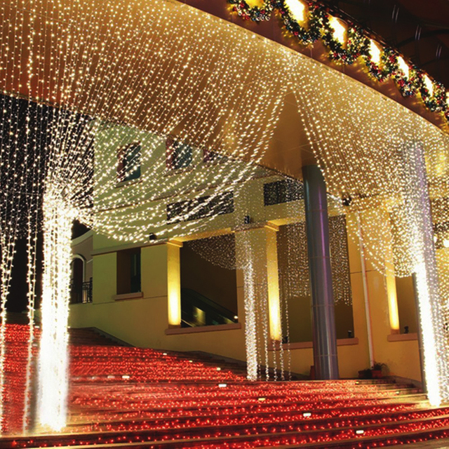4.5M x 3M 6*3M  LED Icicle String Lights Christmas LED Fairy Lights Xmas Garland For Wedding/Party/Curtain/Garden Decoration