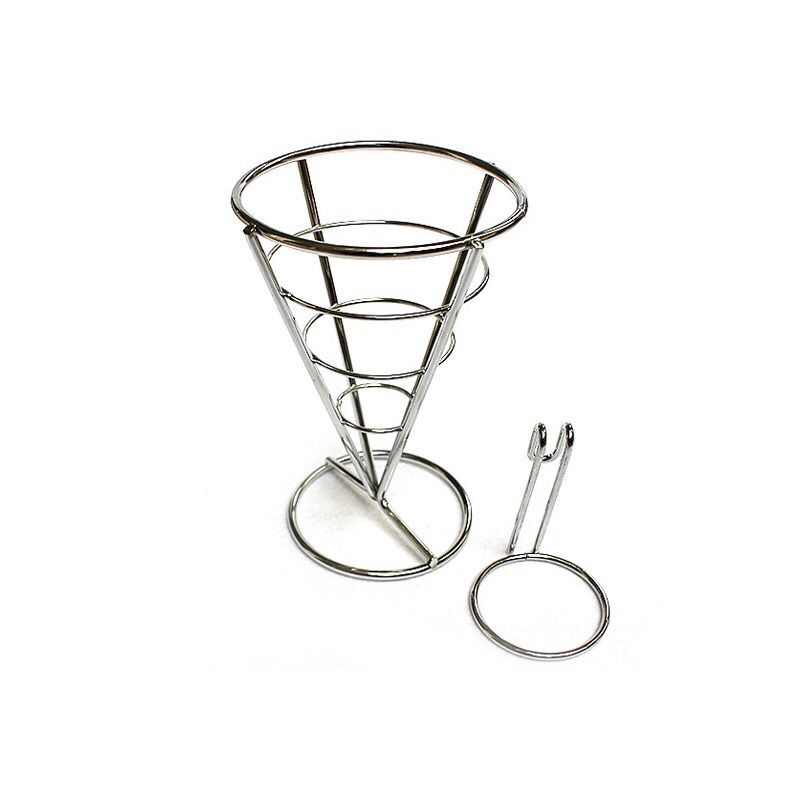 Stainless Steel French Fries Stand Egg Bubble Waffle Display Stand Buffet Cone Snacks Diaplay
