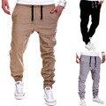 Men Elastic Lace-up Joggers Pants Hip-hop Harem Long Trousers