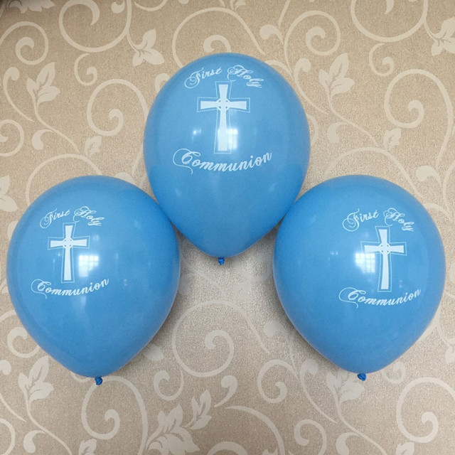09758c400 Boys 1st first holy communion Decoration Balloon Blue Cross Church Event  Party Decoration latex balloons 12ct