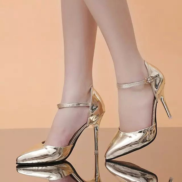 2015 New Arrival Thin High Heel Patent Leather Pointed Toe Ankle Wrap Summer Women Fashion Sexy Sandals Shoes Size 35-39 SXQ0618 wholesale lttl new spring summer high heels shoes stiletto heel flock pointed toe sandals fashion ankle straps women party shoes