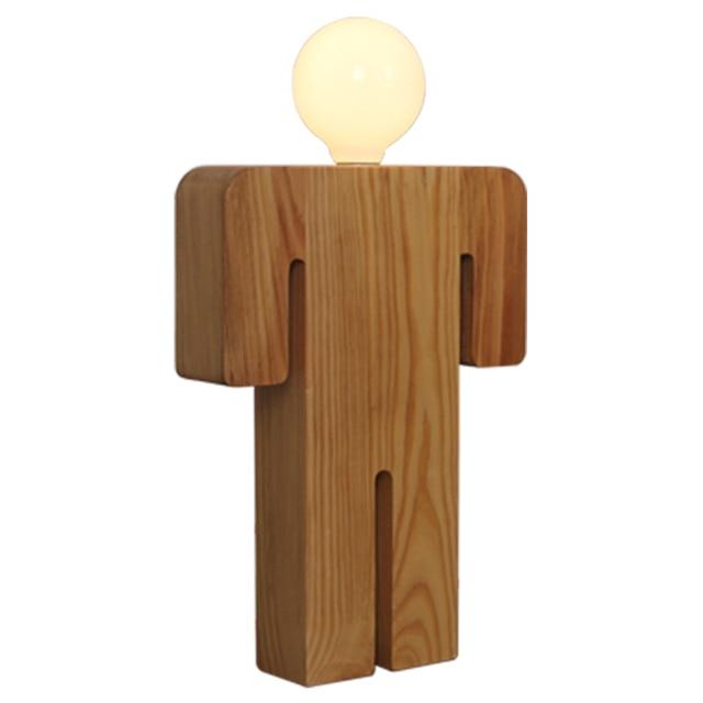 Wooden Man Shaped Desk Lamp Modern Simple Wooden Bedside