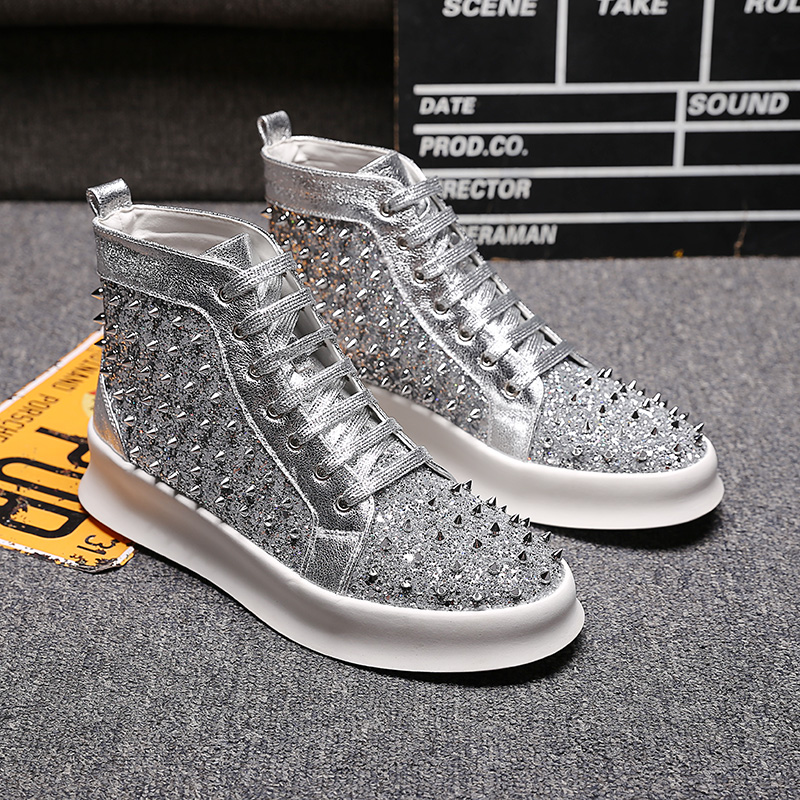 Men s High Top Sneakers Rivet Silver Lace up Youth Punk Hip Hop Sneakers Shoes