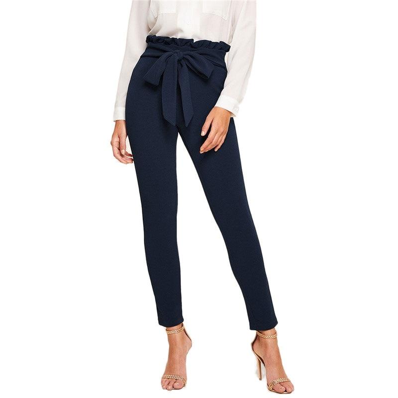 SHEIN Elegant Paperbag Waist Belted Detail Solid High Waist Pants Women Skinny Frill Trim Elastic Waist Spring Summer Pants 23