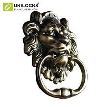Unilocks 골동품 사자 문 두들겨 lionhead doorknockers 라이온스 홈 장식 나사 포함