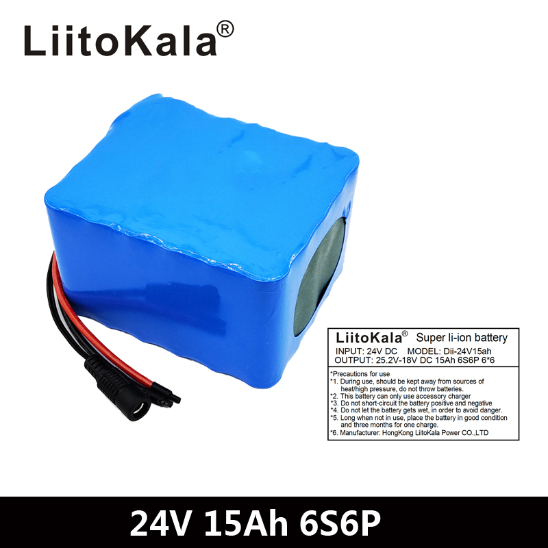 LiitoKala 6S6P 24V 15Ah 25.2V lithium battery pack batteries for electric motor bicycle ebike scooter wheelchair cropper with BM|Battery Packs|   - title=