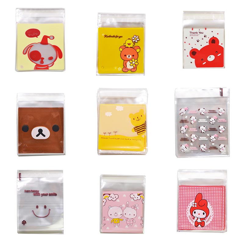 10cm Cute Cartoon Gifts Wrapping Bags Cookie Candies Packaging Self-adhesive Plastic Bags Wedding Favors Biscuits Package Bag
