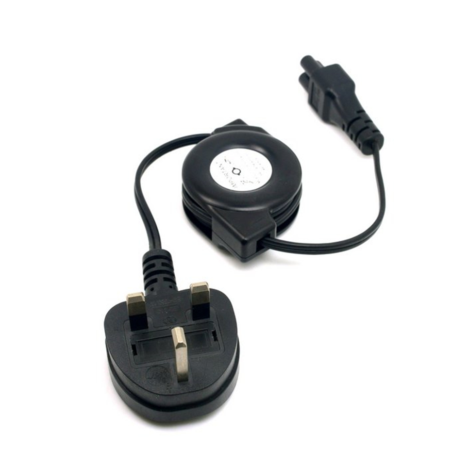 UK Plug Power Supply Retractable Stretch Cable Cord to IEC320 C5 for Laptop Notebook 100cm 1m 3ft