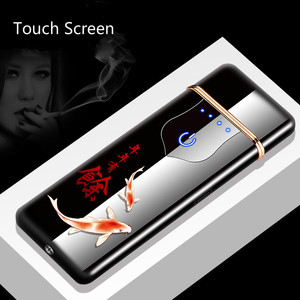 New USB Charging Lighter Touch Induction Thin Rechargeable Cigarette Lighters Windproof Metal Electric Lighter Gadgets For Men(China)