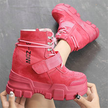 NAYIDUYUN     Women Shoes Cow Leather Wedges Platform High Heels Party Pumps Hi-Top Casual Shoes Lace Up Punk Fashion Sneakers brand design 2017 fashion women rose gold casual wedges shoes ladies lace up high heels platform pumps shoes for women