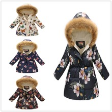 Fashion Girls Down Jacket Fleece Winter Children Clothes Hooded Coat Floral Baby Girl Overcoat Outwear Kids Outfits Tops Jumpers