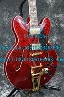 Instock Starshine yüksek kalite 1964 SR-MES-345G Yarı hollow vücut elektrik gitar kapitone maple top kore donanım