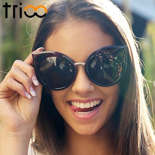 5dda709d78 TRIOO UV400 Protection Ladies Cat Eye Sunglasses Oversized Round Cat Oculos  de sol Gradient Lens High