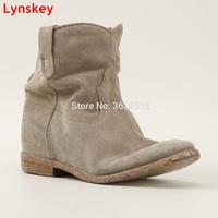 Lynskey New Fashion Round Toe Wedges Ladies Height Increasing Ankle Boots Suede Leather Hidden Heel Shoes Botas Mujer